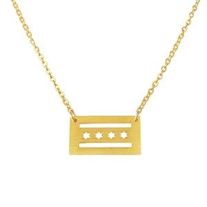 Jewelry - Chicago Flag Gold Necklace